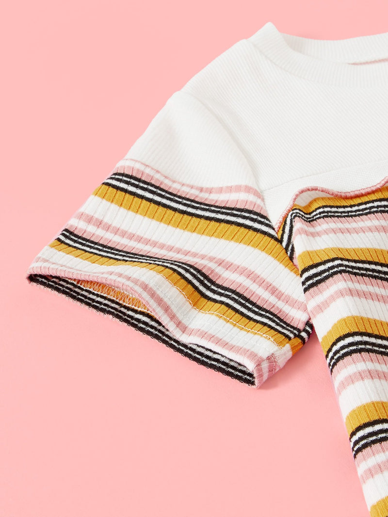 Cut And Sew Frilled Stripe Knit Tee
