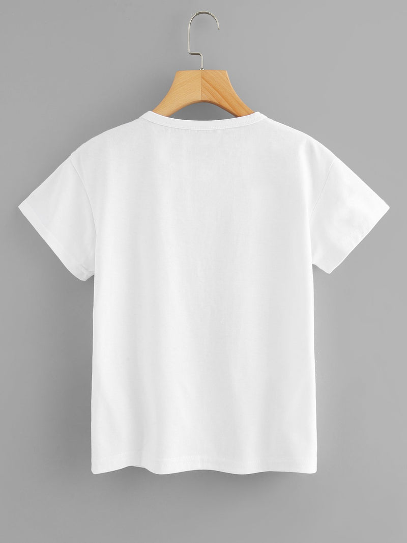 Gesture And Letter Print Tee