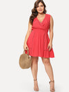 Dot Lace Insert Ruffle Hem Wrap Dress