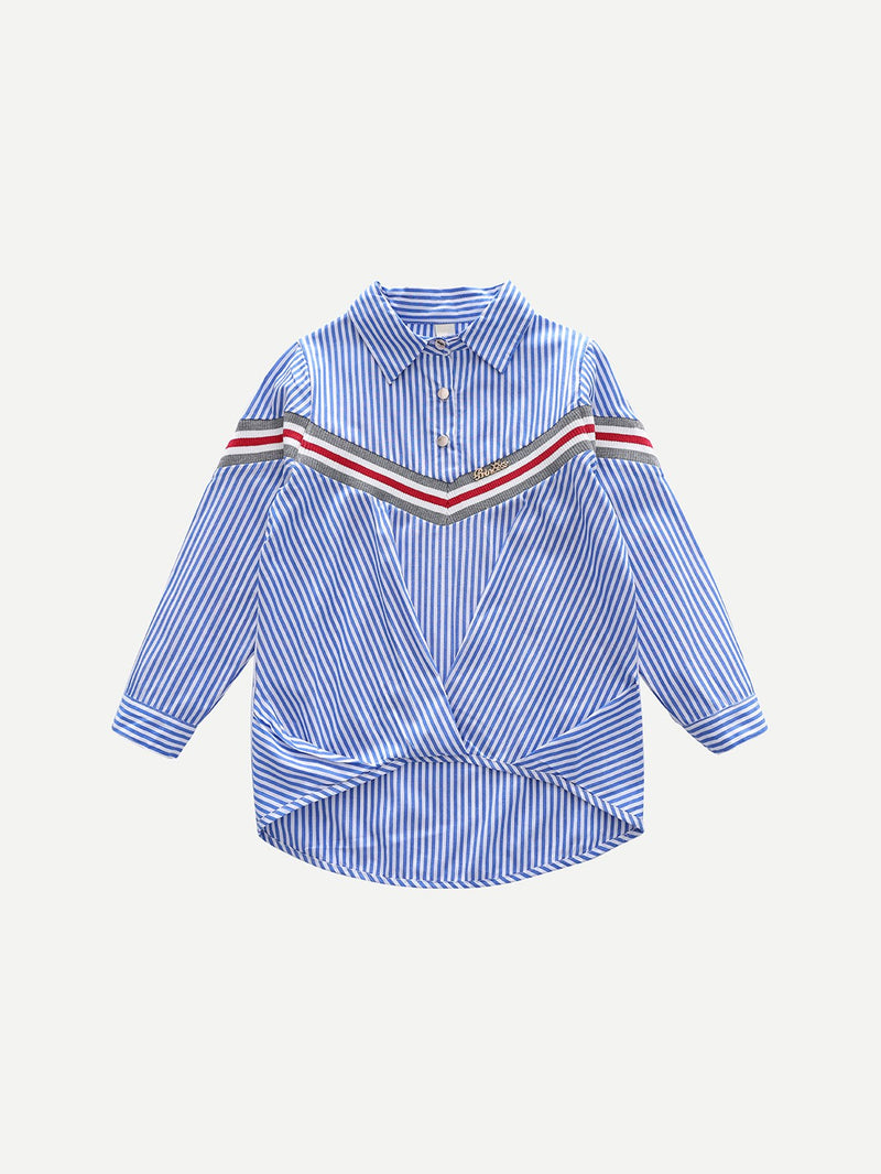 Kids Button Decoration Striped Blouse