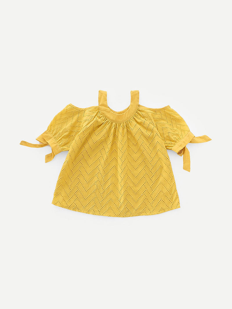 Kids Eyelet Embroidered Knot Detail Blouse