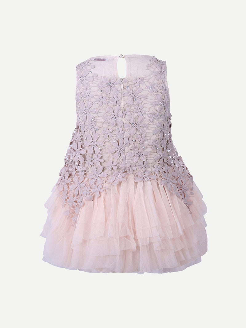 Kids Contrast Lace And Mesh Dress