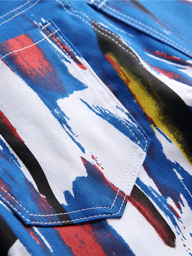 Men 3D Brush Strokes Print Jeans