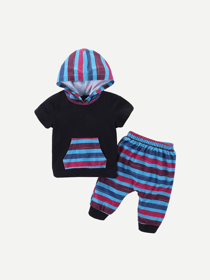 Kids Striped Hooded Tee With Pants