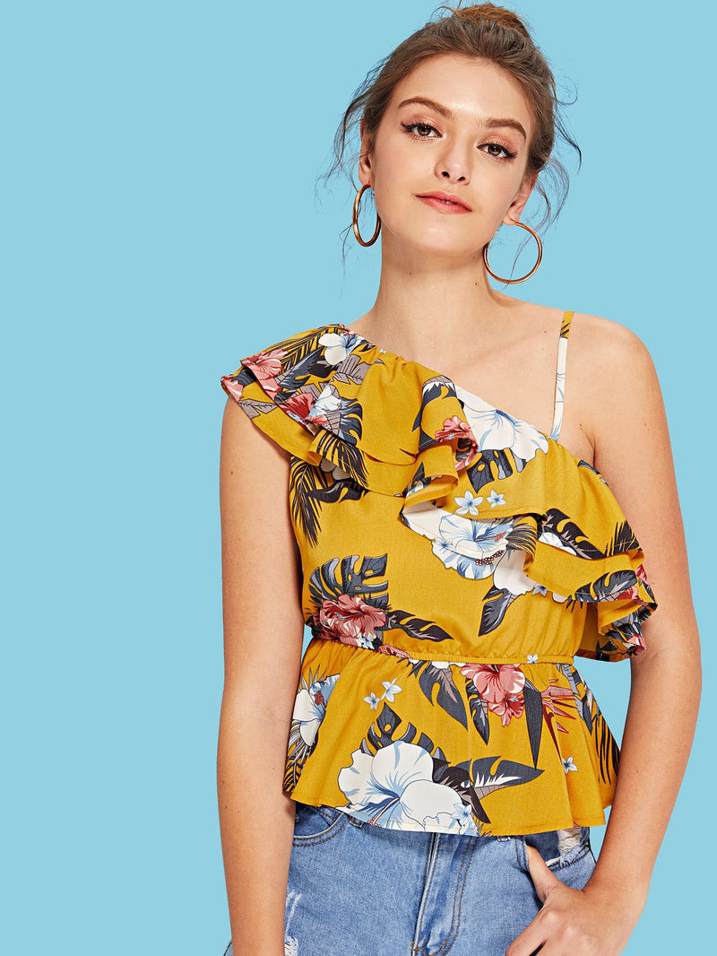 Layered Flounce One Shoulder Floral Top