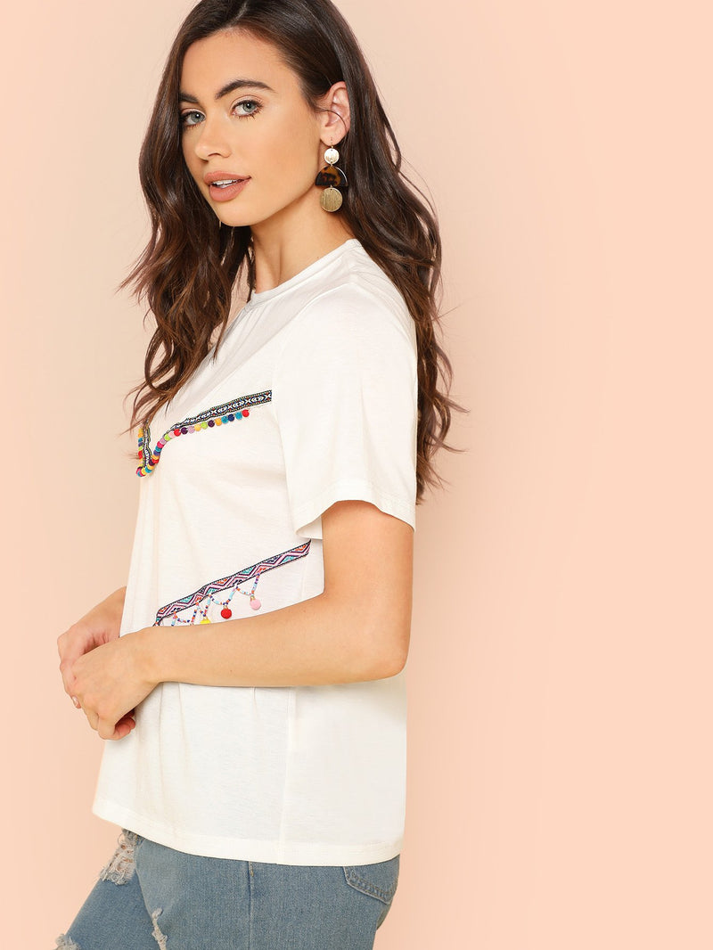 Pom Pom Embroidered Tape Detail T-shirt