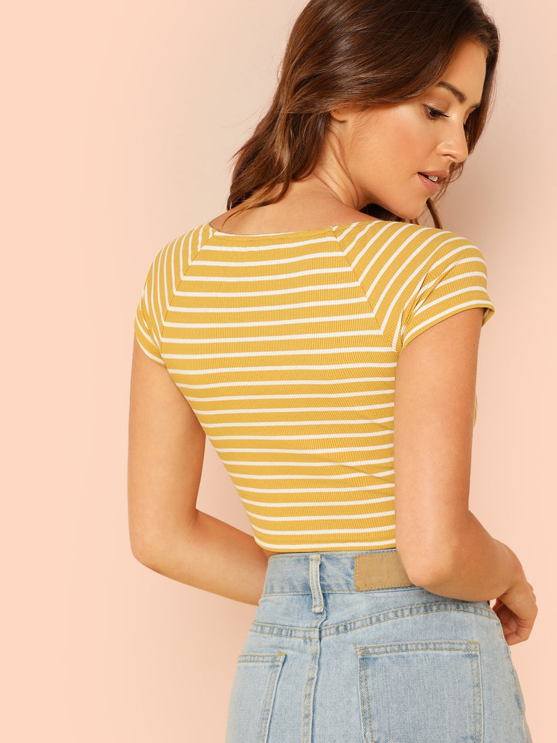Knot Front Rib Knit Striped Tee
