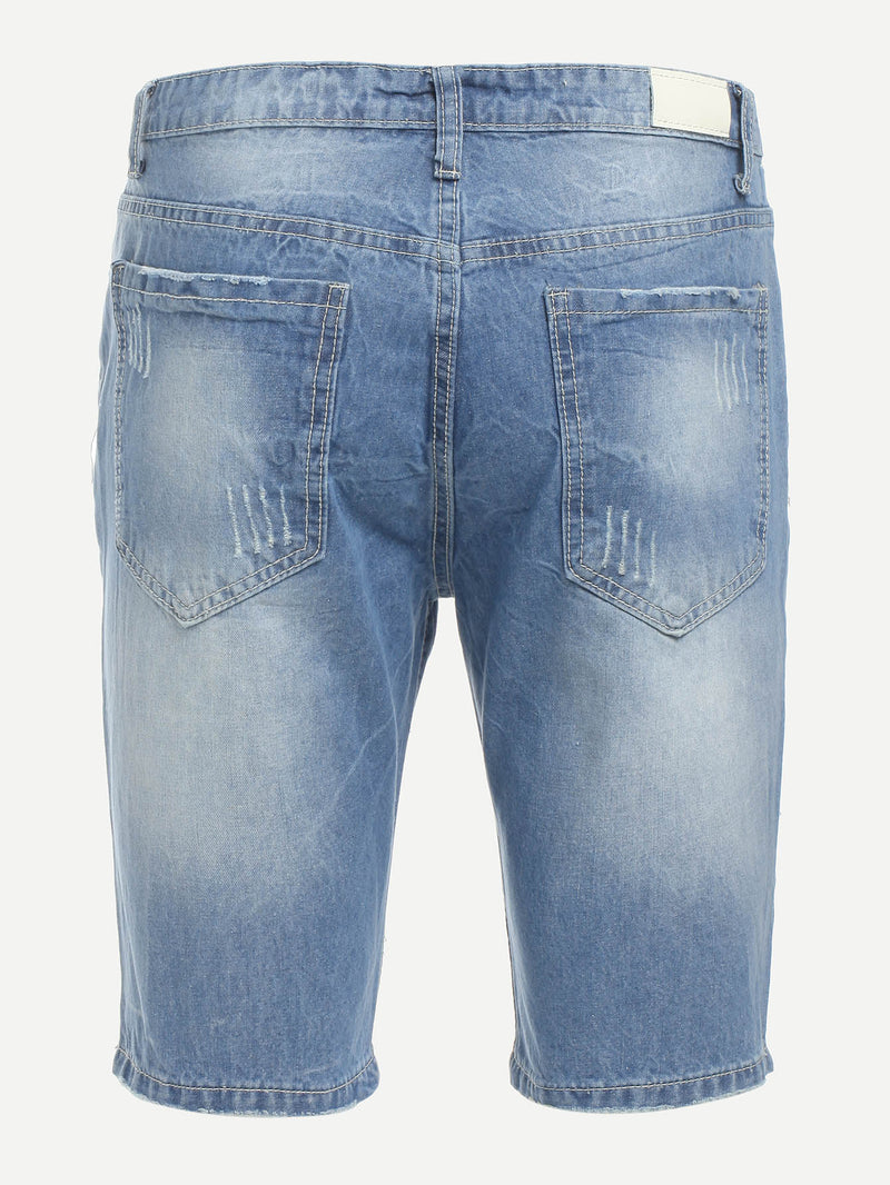 Men Bleach Wash Denim Shorts