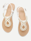 Faux Pearl Toe Post Flat Sandals