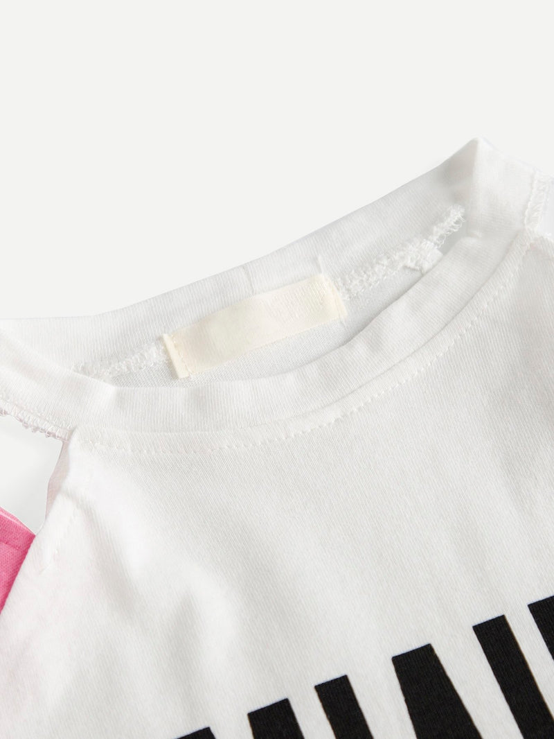 Kids Letter Print Cold Shoulder Tee