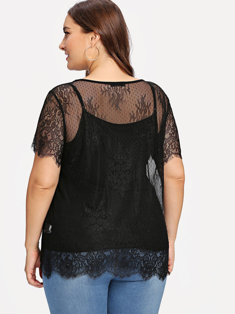 Eyelash Lace Blouse With Solid Cami