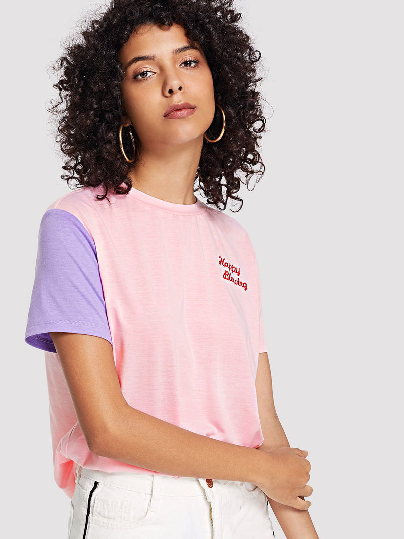 Letter Embroidered Colorblock Tee