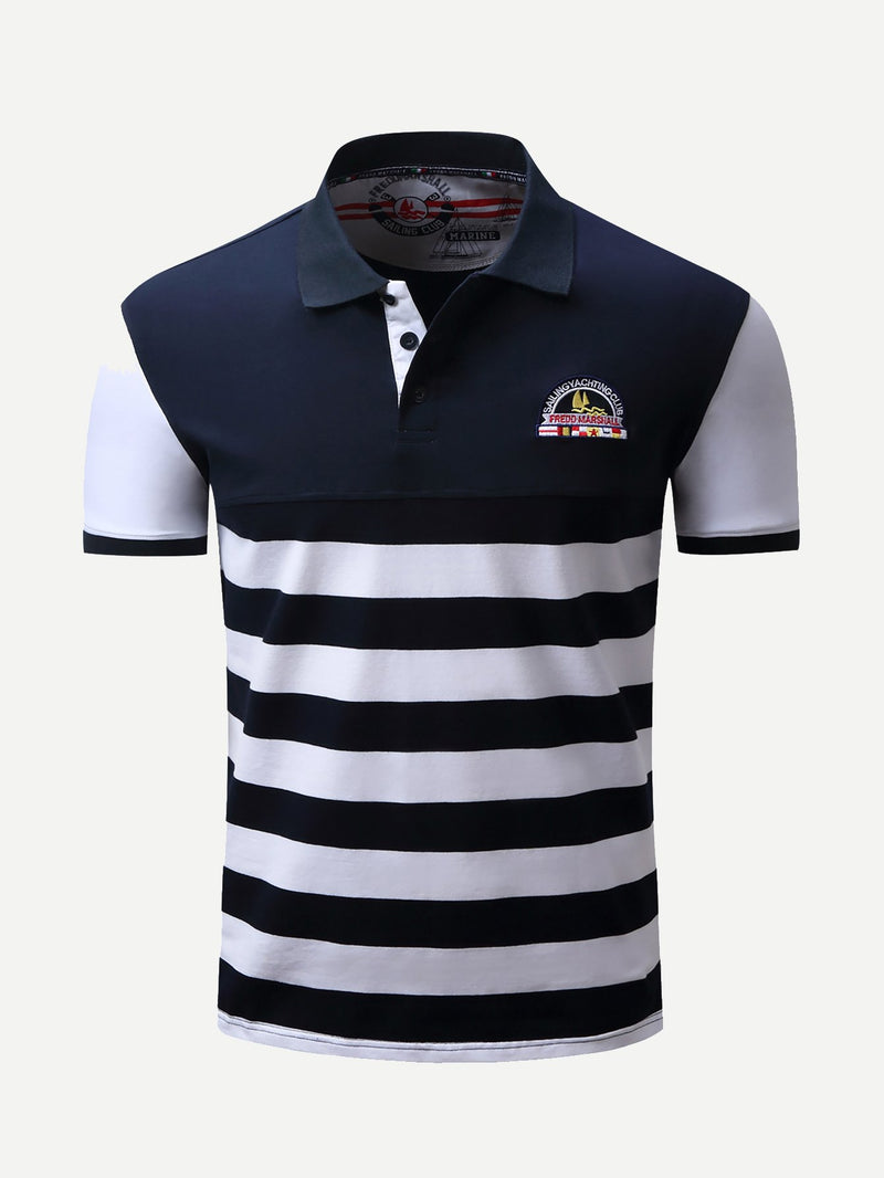 Men Embroidery Striped Polo Shirt
