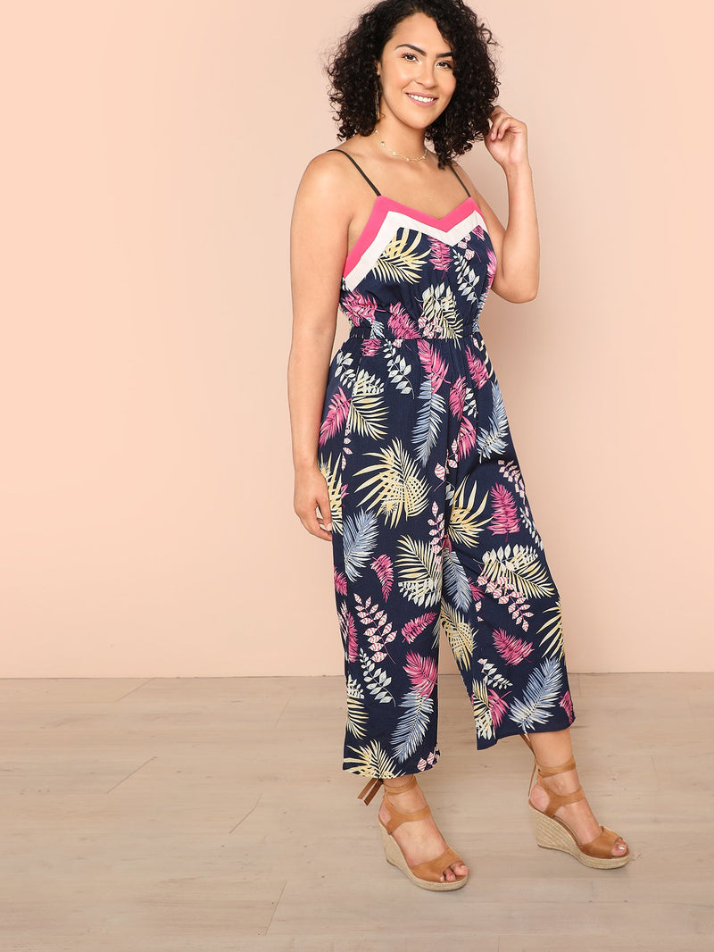 Jungle Leaf Print Color Block Cami Jumpsuit