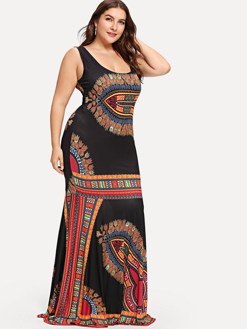 Ornate Print Fitted Tank Dress
