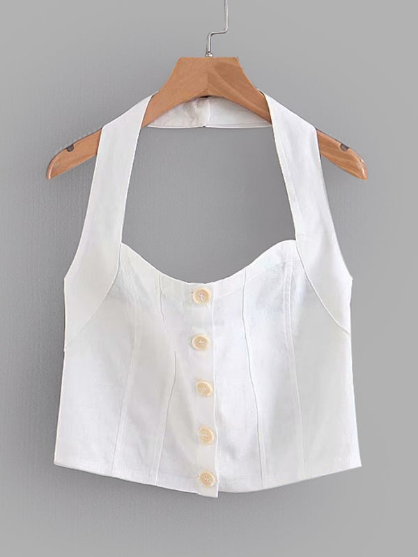 Button Through Crop Halter Top