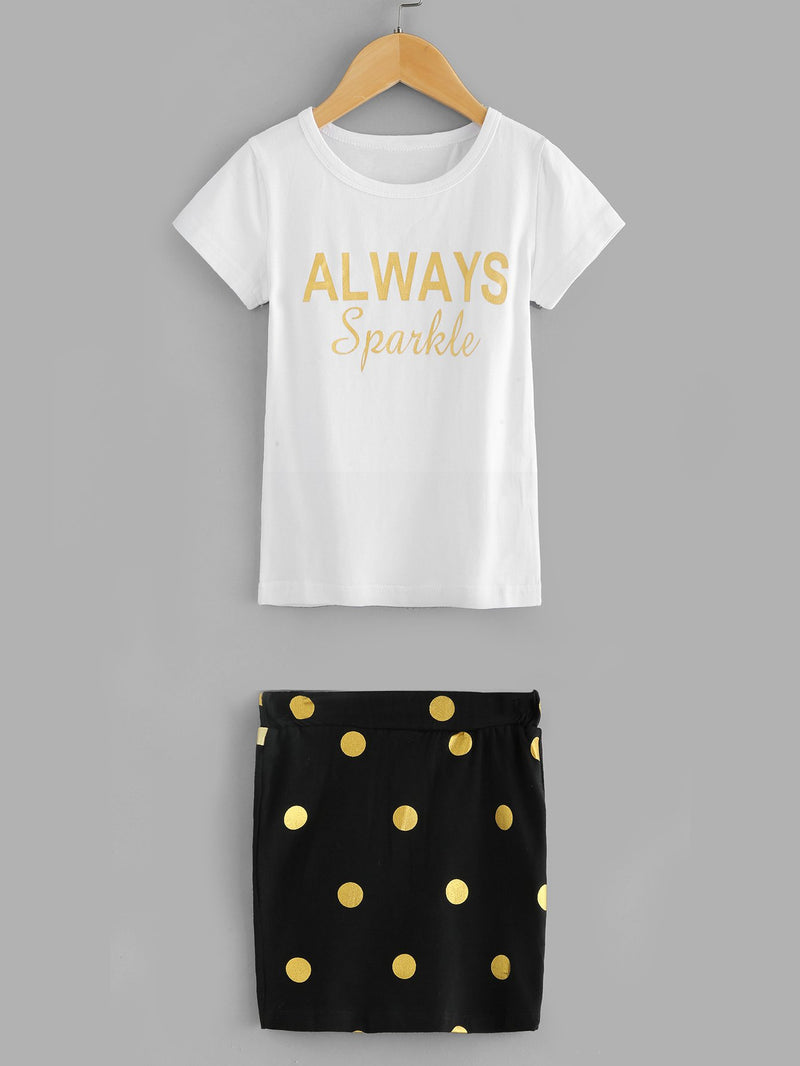 Letter Print Tee With Spot Skirt