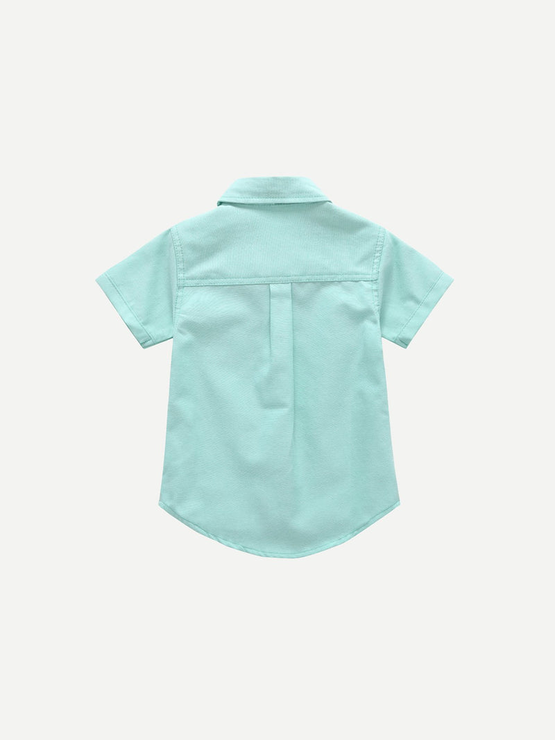 Kids Tie Neck Curved Hem Blouse