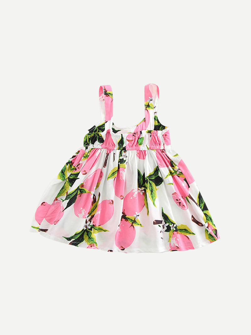 Kids Floral Print Bow Tie Cami Dress