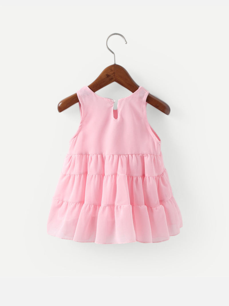 Kids Tie Decoration Ruffle Trim Vest Dress