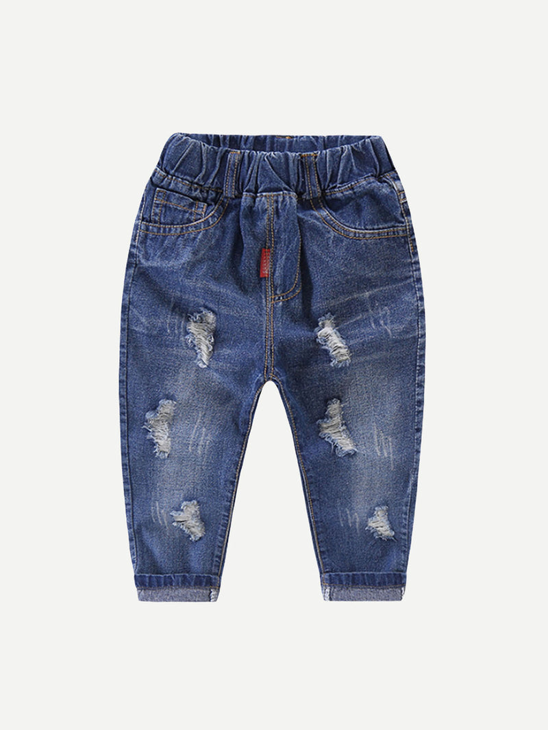Kids Destroyed Roll Hem Jeans