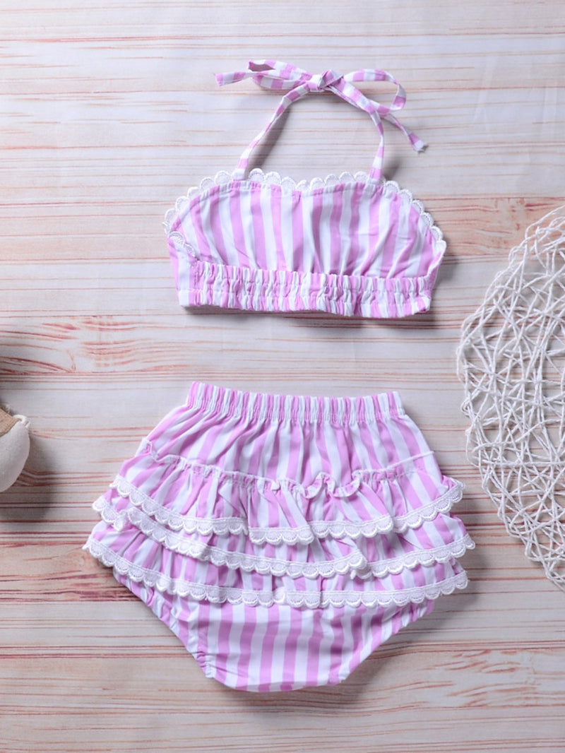 Kids Striped Ruffle Bikini Set