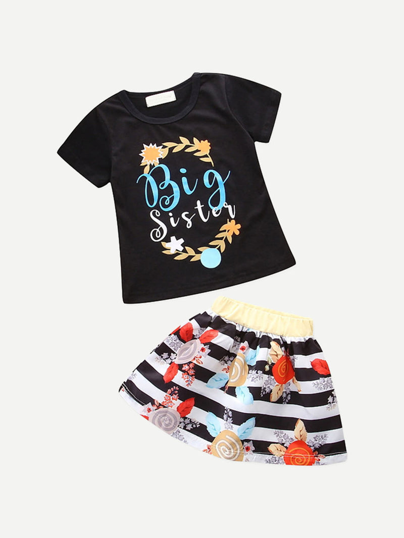 Kids Letter Print Tee With Striped Floral Print Skirt