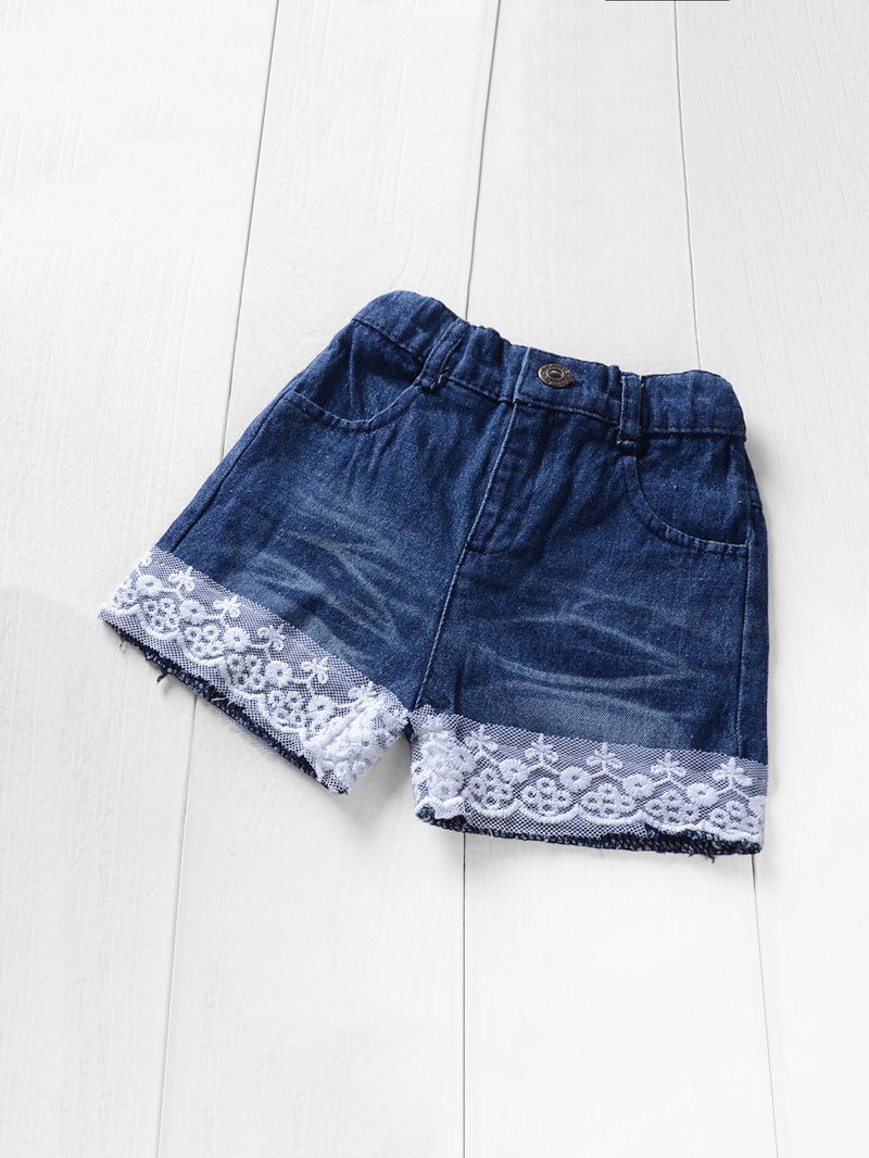 Kids Button Decoration Cami Top With Contrast Lace Denim Shorts