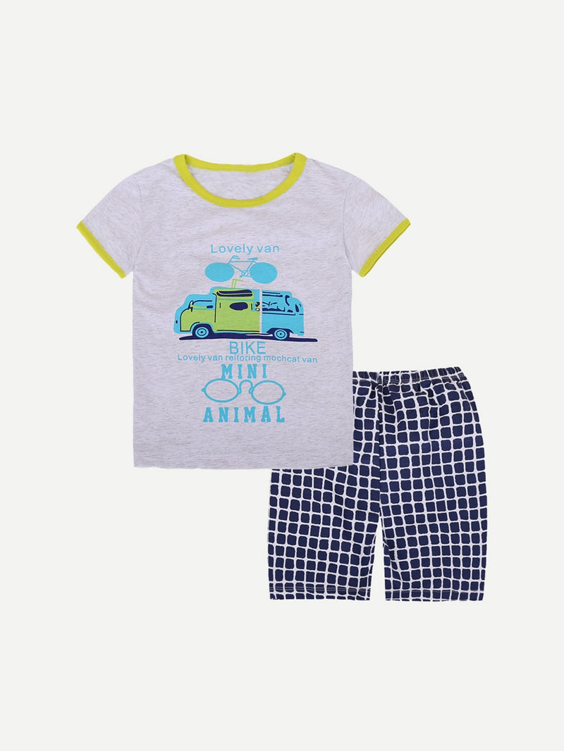 Kids Car Print Ringer Tee With Plaid Shorts
