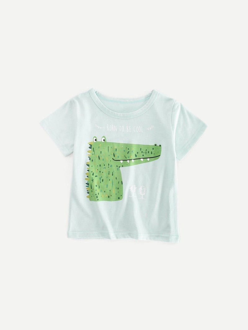 Kids Crocodile Print Tee With Roll Hem Plain Shorts