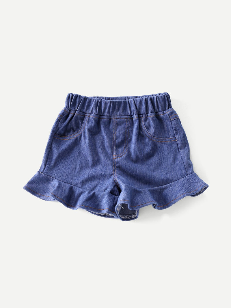 Flounce Hem Solid Elastic Waist Girls Denim Shorts
