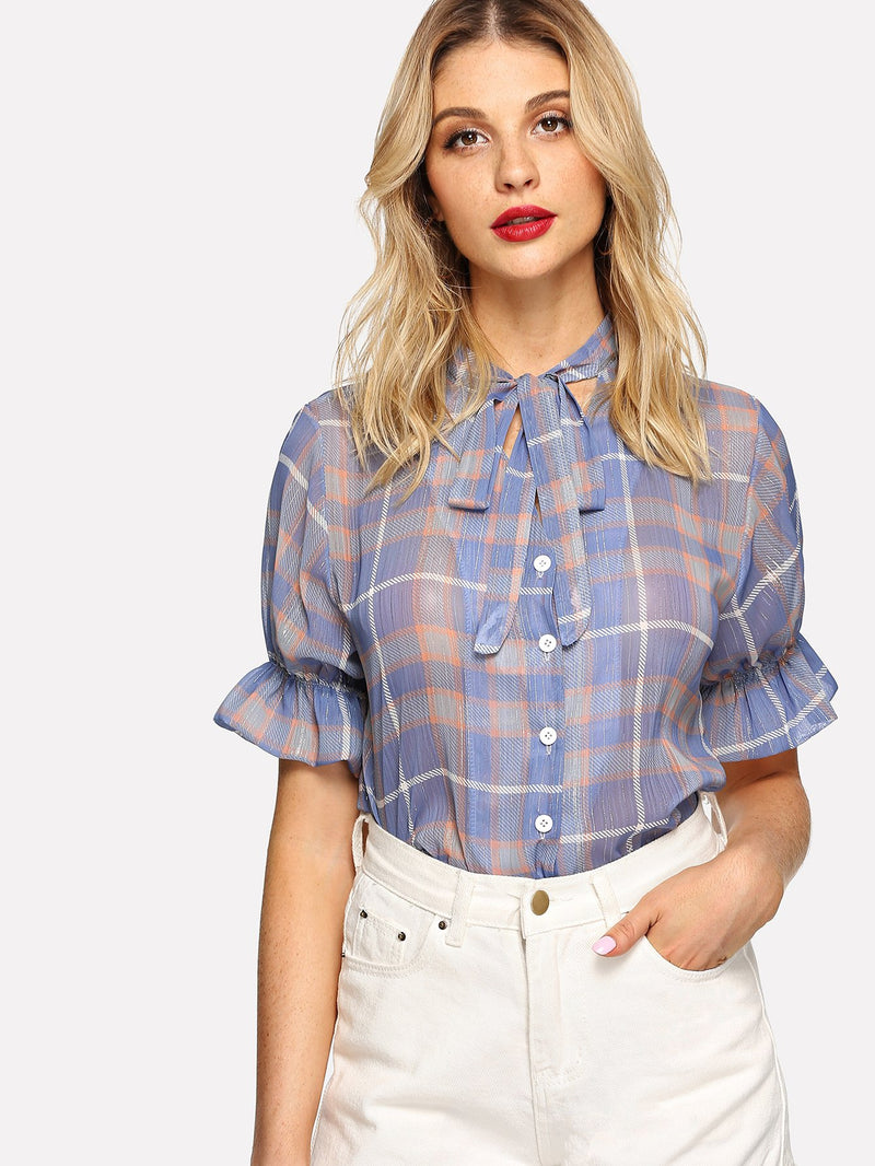 Knot Detail Plaid Blouse