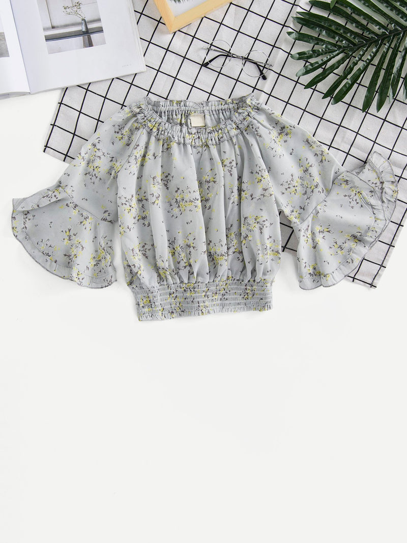 Kids Frill Calico Print Shirred Hem Blouse