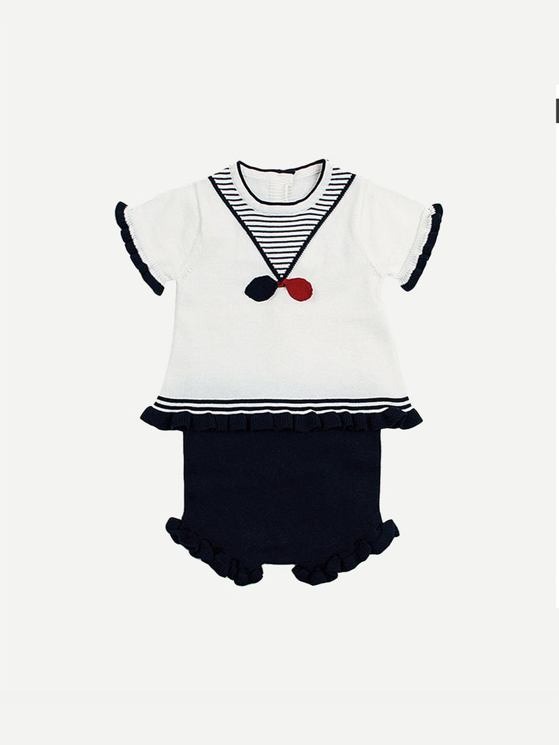 Kids Button Back Frill Striped Blouse With Plain Shorts