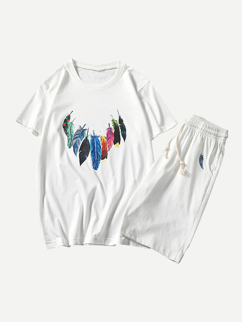 Men Feather Print Tee With Drawstring Shorts