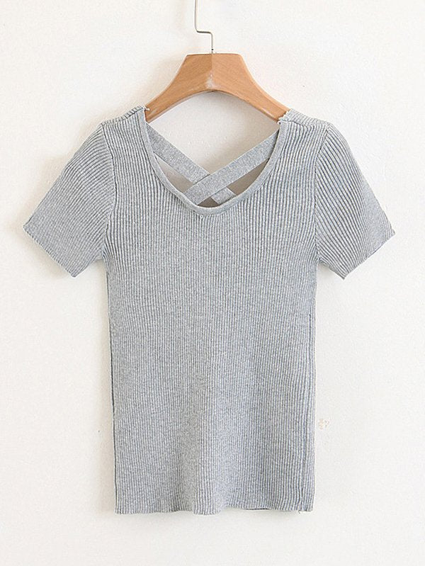 Criss Cross Back Marled Knit Tee