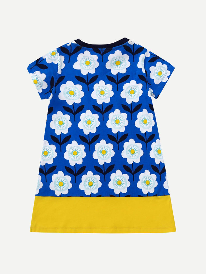 Kids Floral Print Cut And Sew Panel Dress