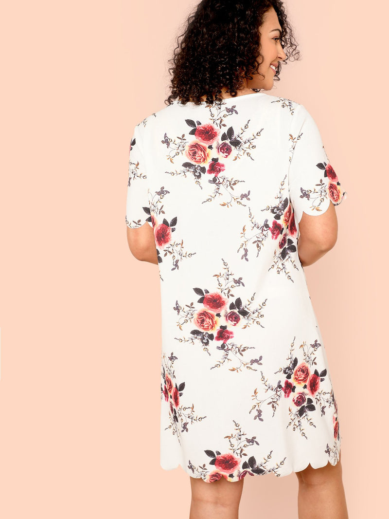 Scallop Edge Flower Dress