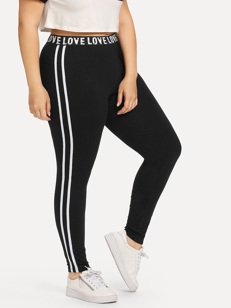 Letter Print Striped Side Leggings
