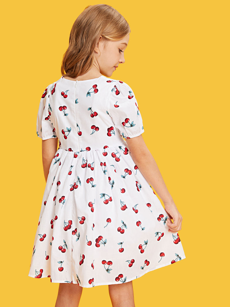 Allover Cherry Print Smock Dress