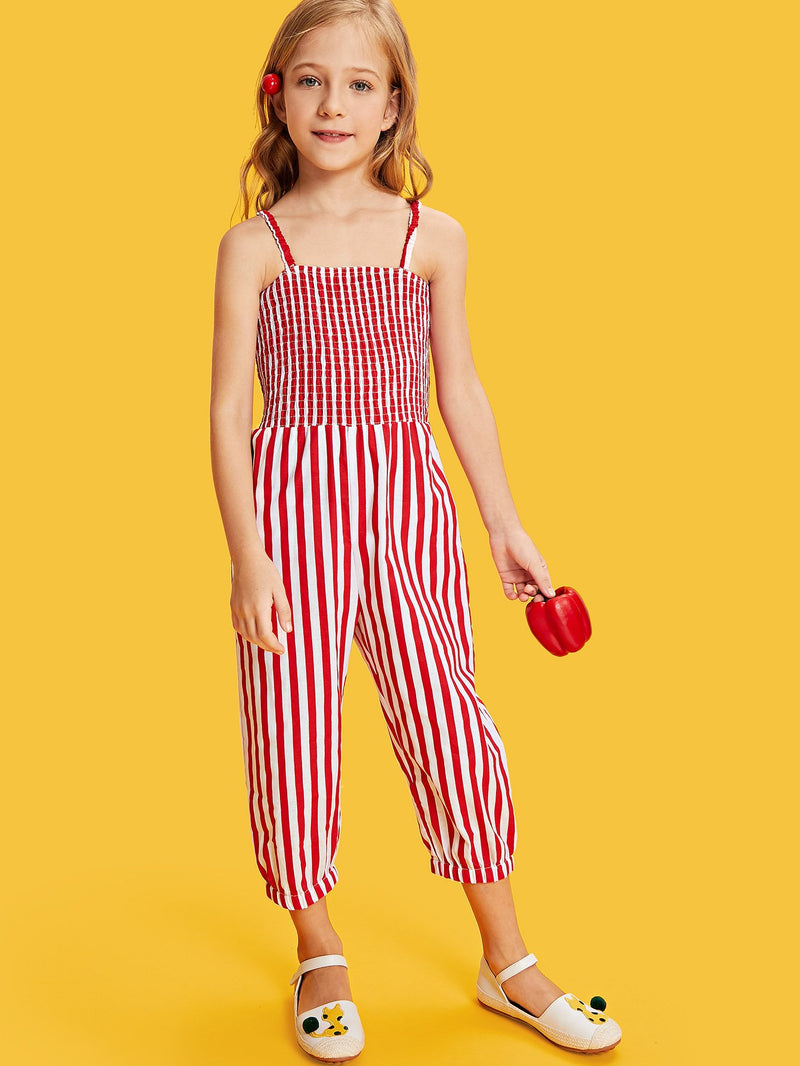 Smocked Bodice Striped Cami Jumpsuit