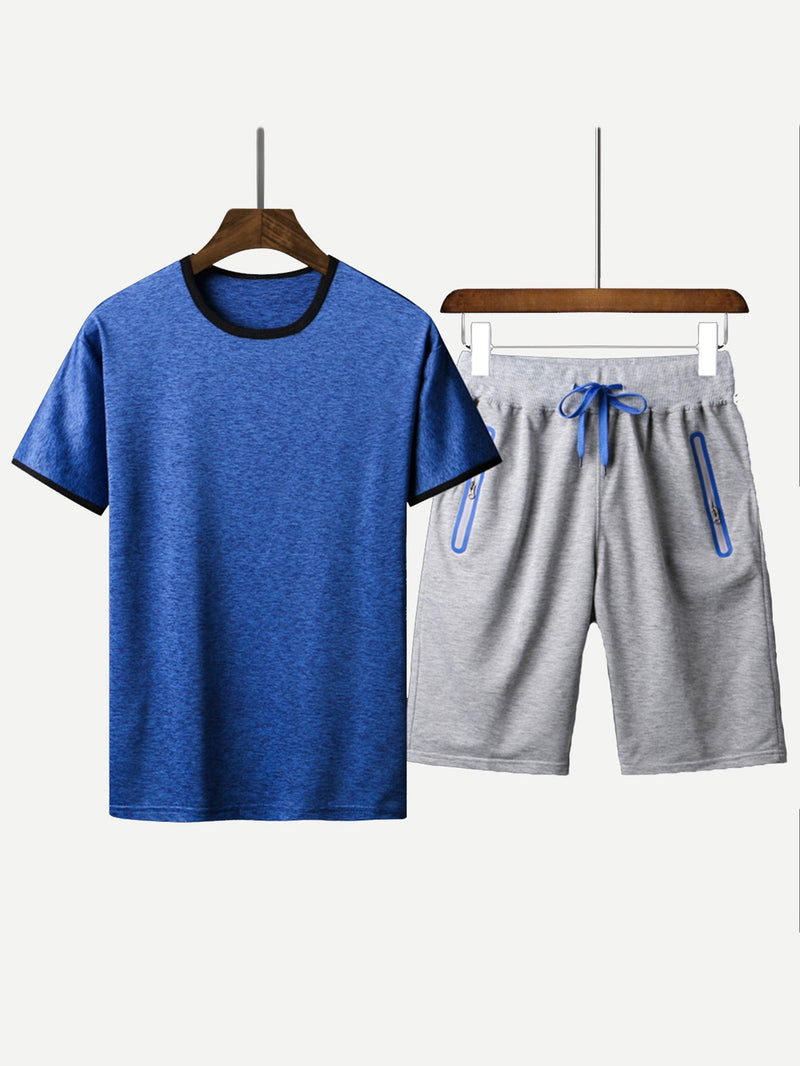 Men Solid Tee With Drawstring Waist Shorts
