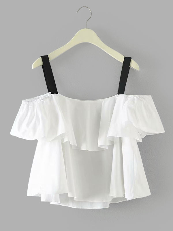 Contrast Strap Ruffle Layered Top