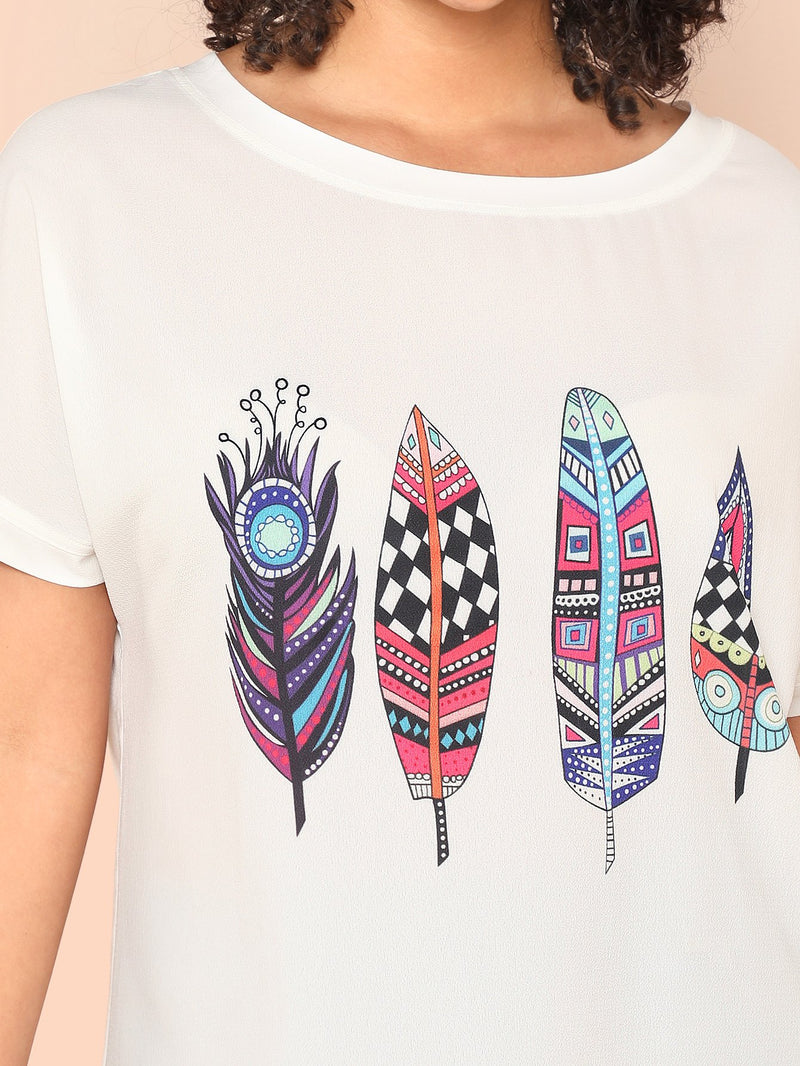 Feather Print High Low Tee