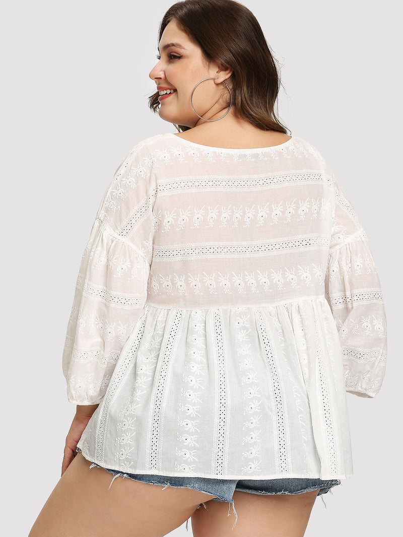 Eyelet Embroidered Smock Top