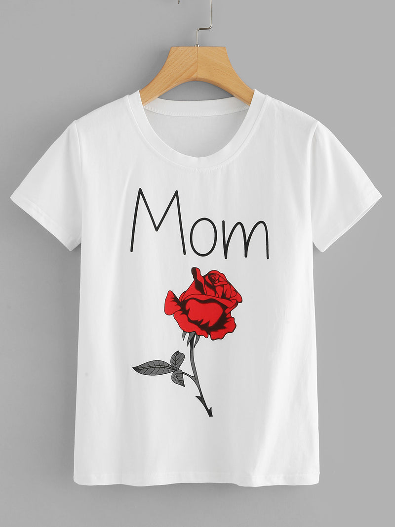 Letter And Rose Print Tee