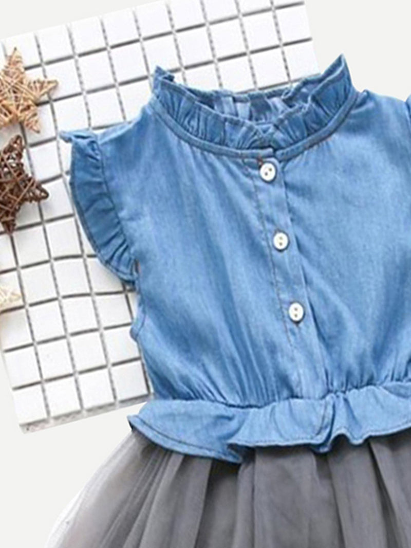 Frill Trim Denim Blouse With Mesh Skirt