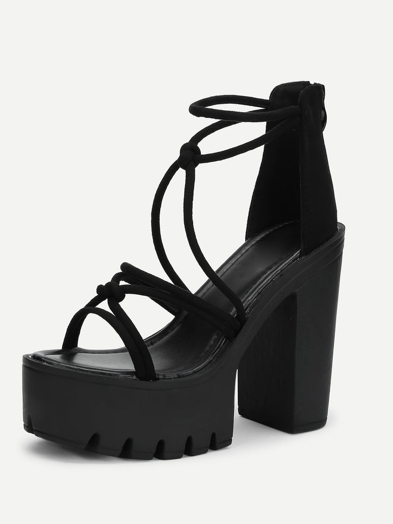 Platform Strappy Block Heeled Sandals