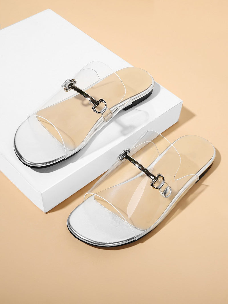 Metal Detail Clear Flat Sandals