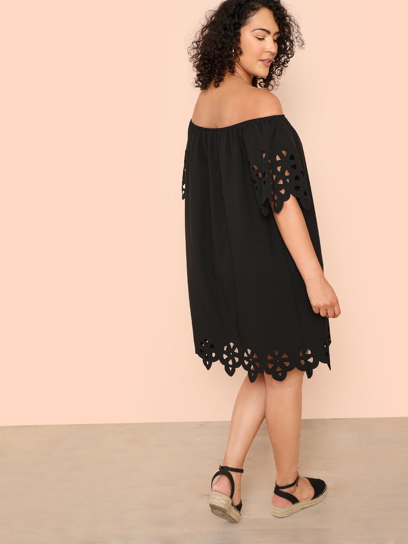 Laser Cut Insert Off Shoulder Dress